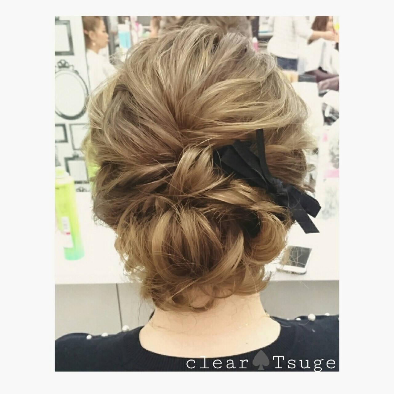 ミディアム 結婚式 ハイライト ツイストヘアスタイルや髪型の写真・画像