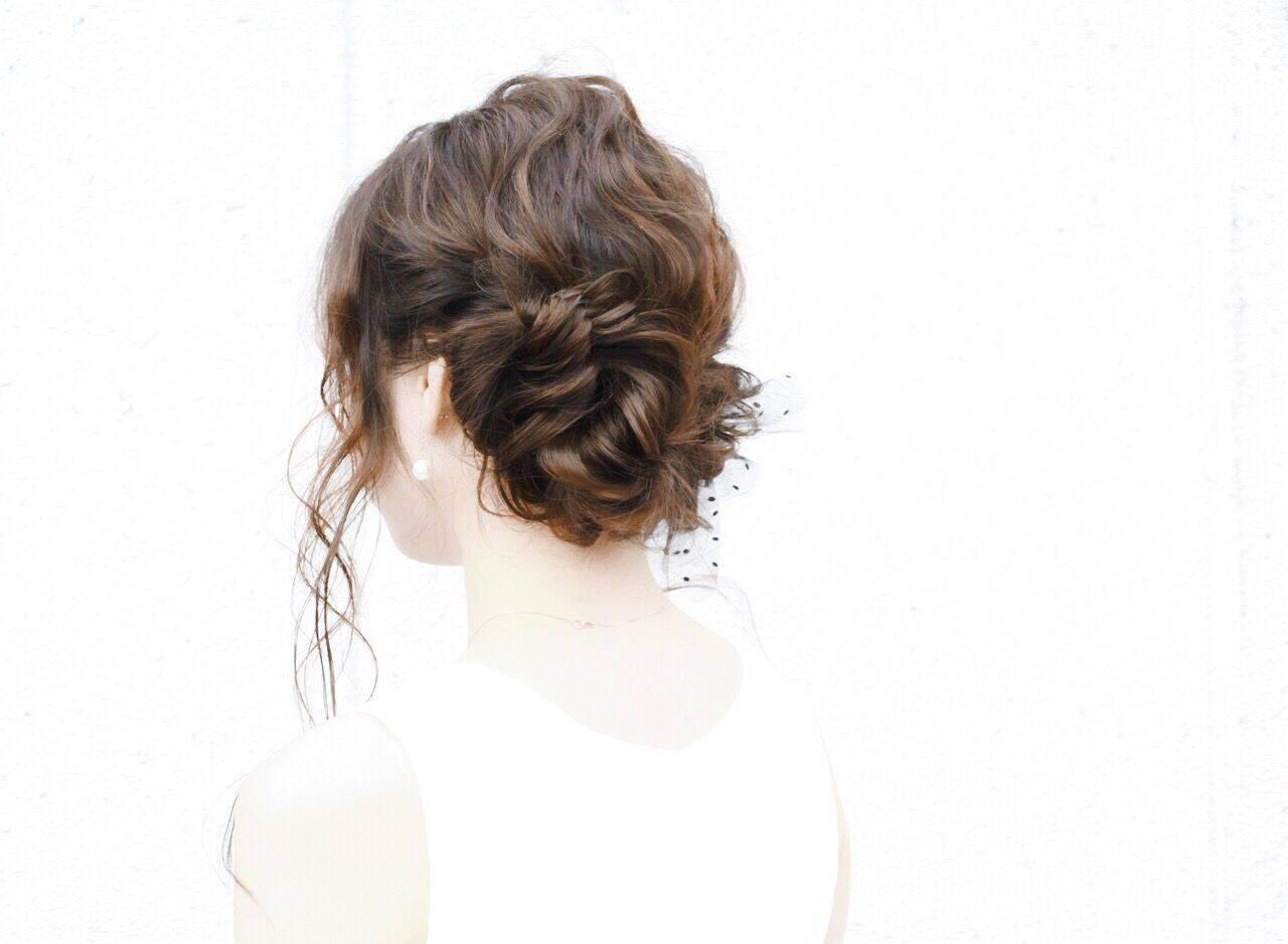 編み込み ヘアアレンジ コンサバ モテ髪ヘアスタイルや髪型の写真・画像