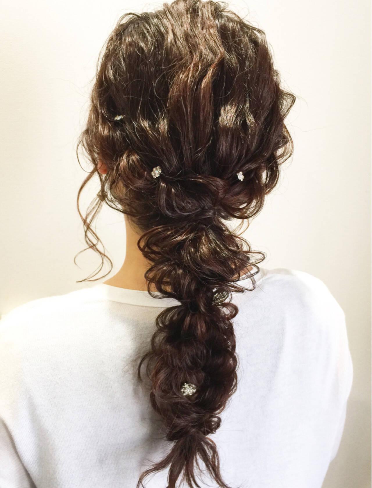 結婚式 編み込み ヘアアレンジ ガーリーヘアスタイルや髪型の写真・画像