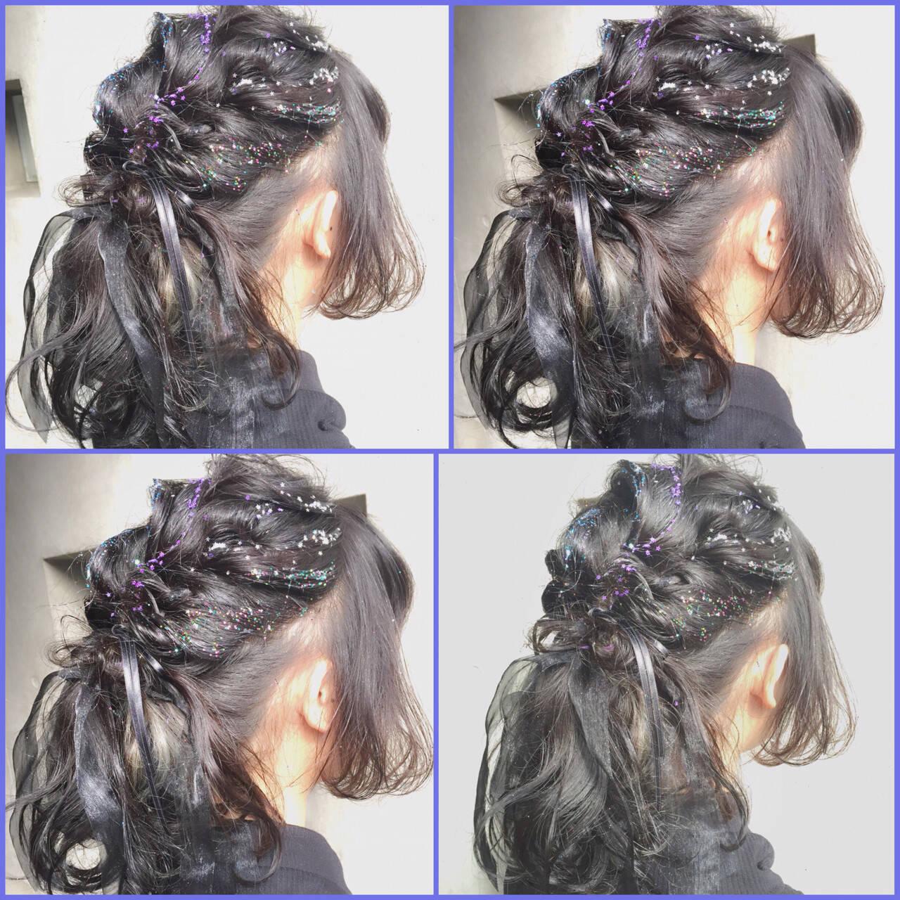 グラデーションカラー ガーリー 外国人風 ミディアムヘアスタイルや髪型の写真・画像