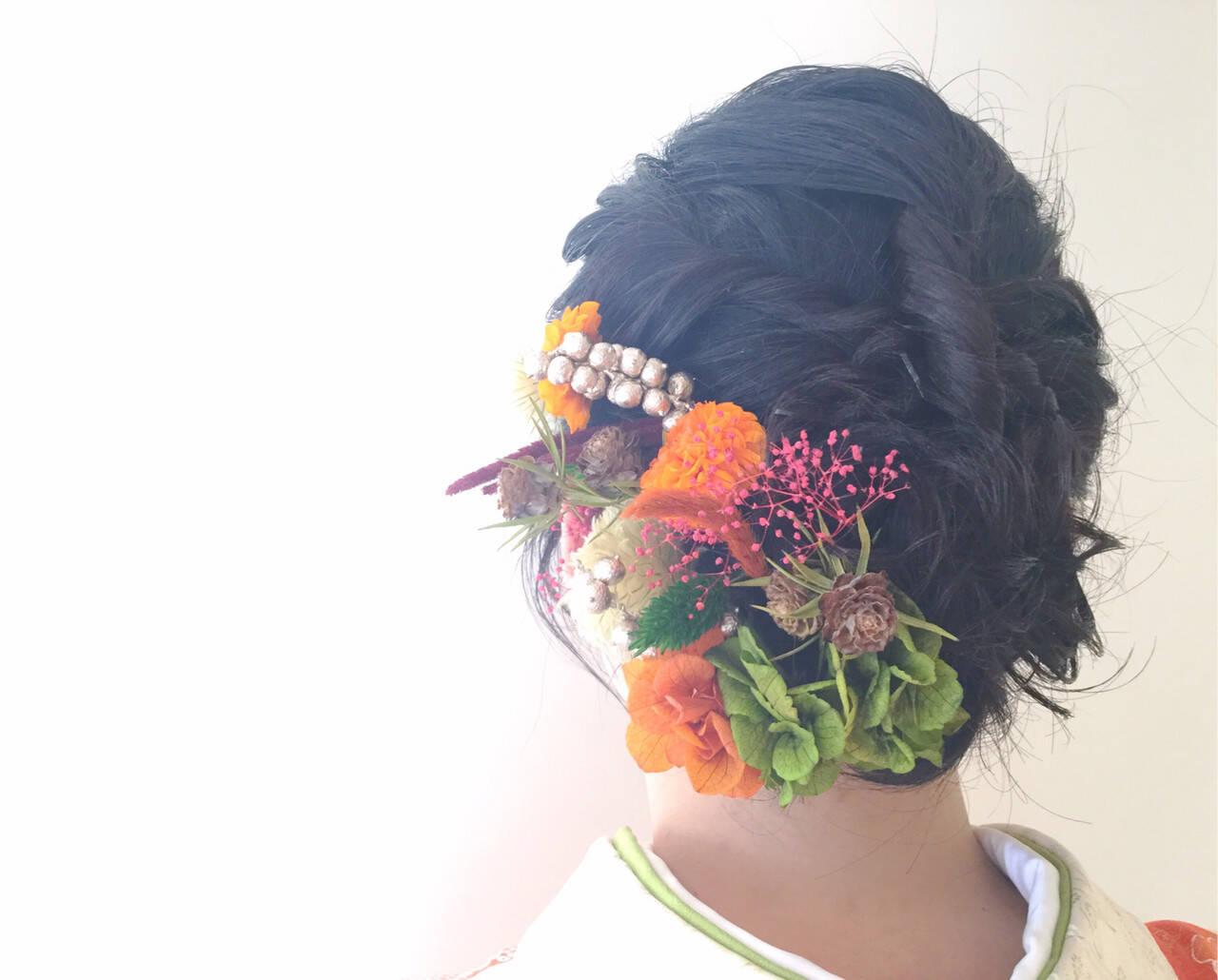 成人式 ドライフラワー フェミニン ミディアムヘアスタイルや髪型の写真・画像