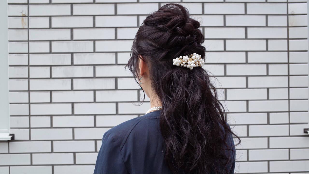 ハーフアップ ロング 暗髪 ショートヘアスタイルや髪型の写真・画像
