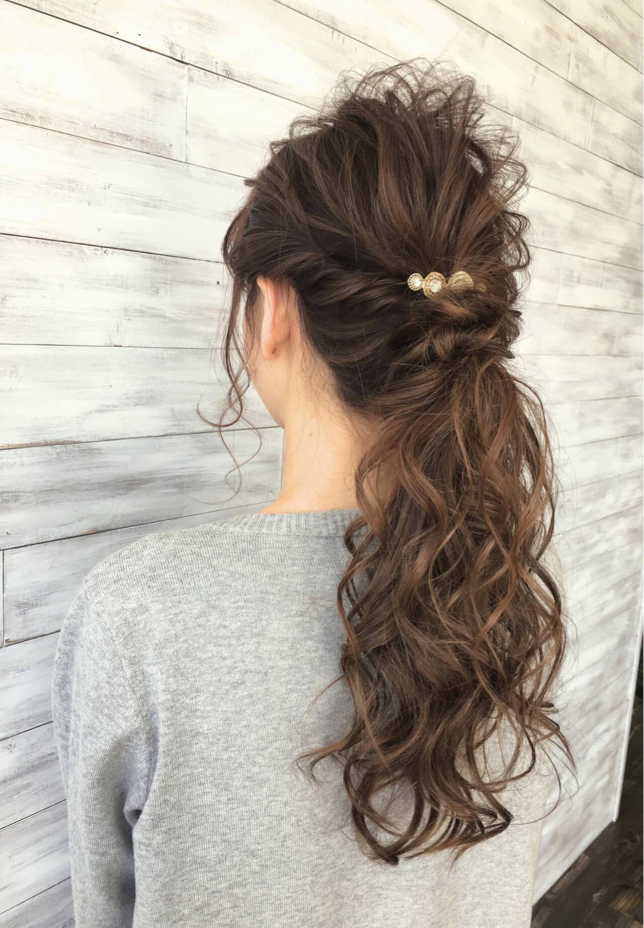 ポニーテール ミディアム ナチュラル ヘアアレンジヘアスタイルや髪型の写真・画像