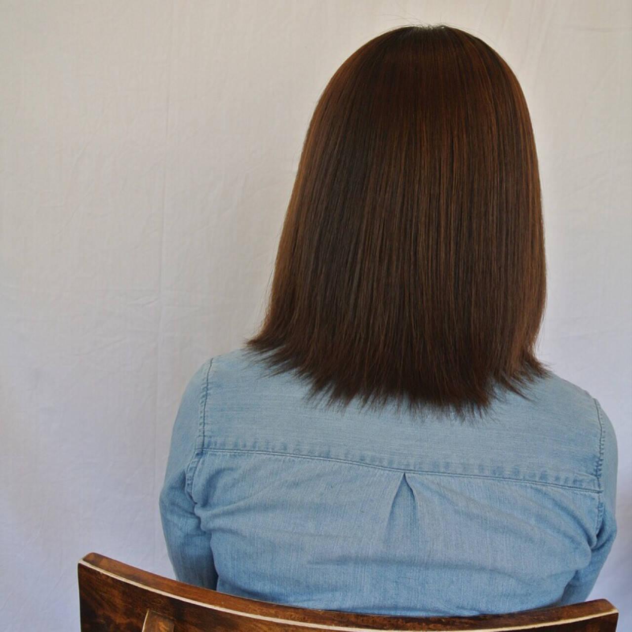 ミディアム ナチュラル パーマ 縮毛矯正ヘアスタイルや髪型の写真・画像
