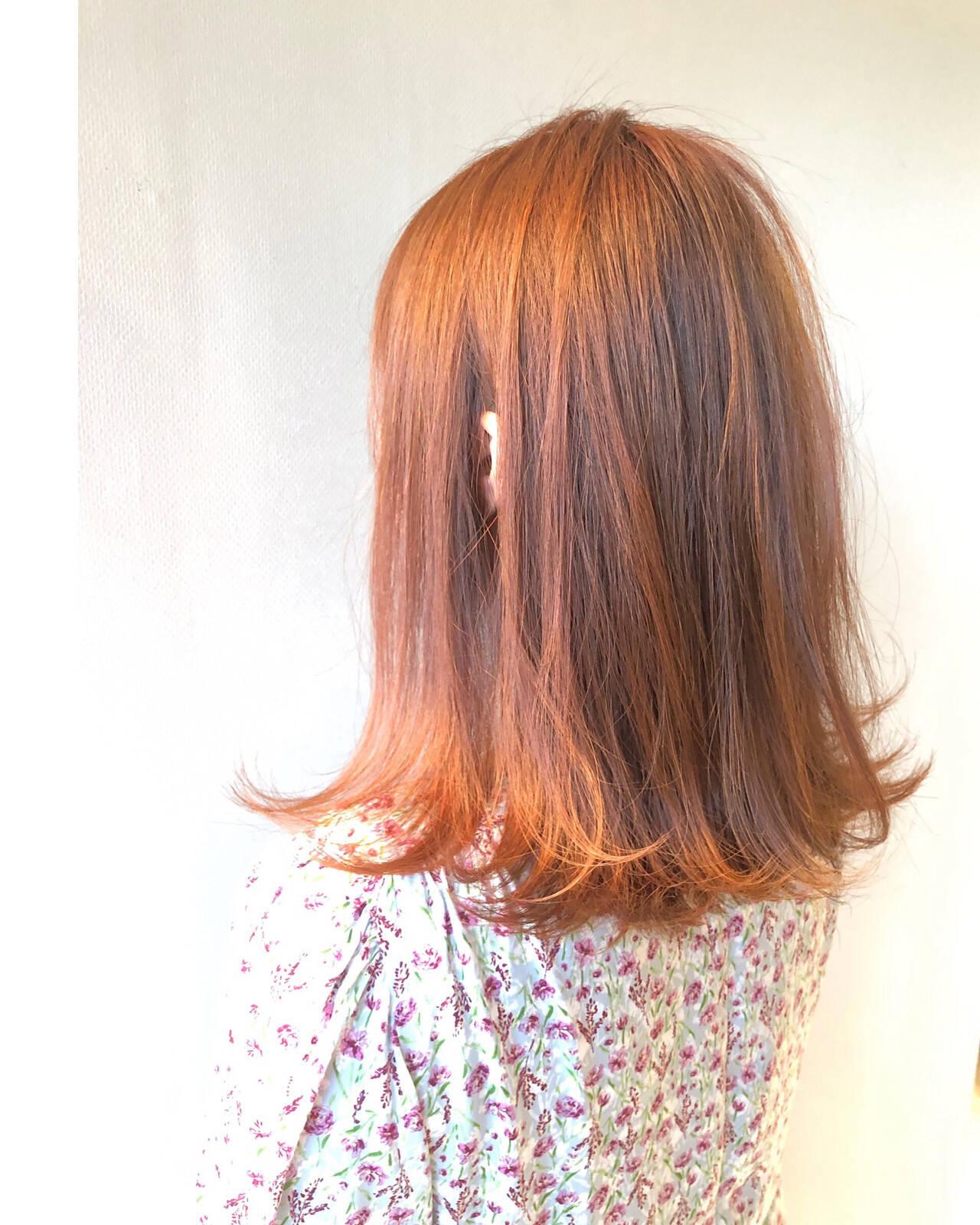 アプリコットオレンジ 透明感 デート ツヤ髪ヘアスタイルや髪型の写真・画像