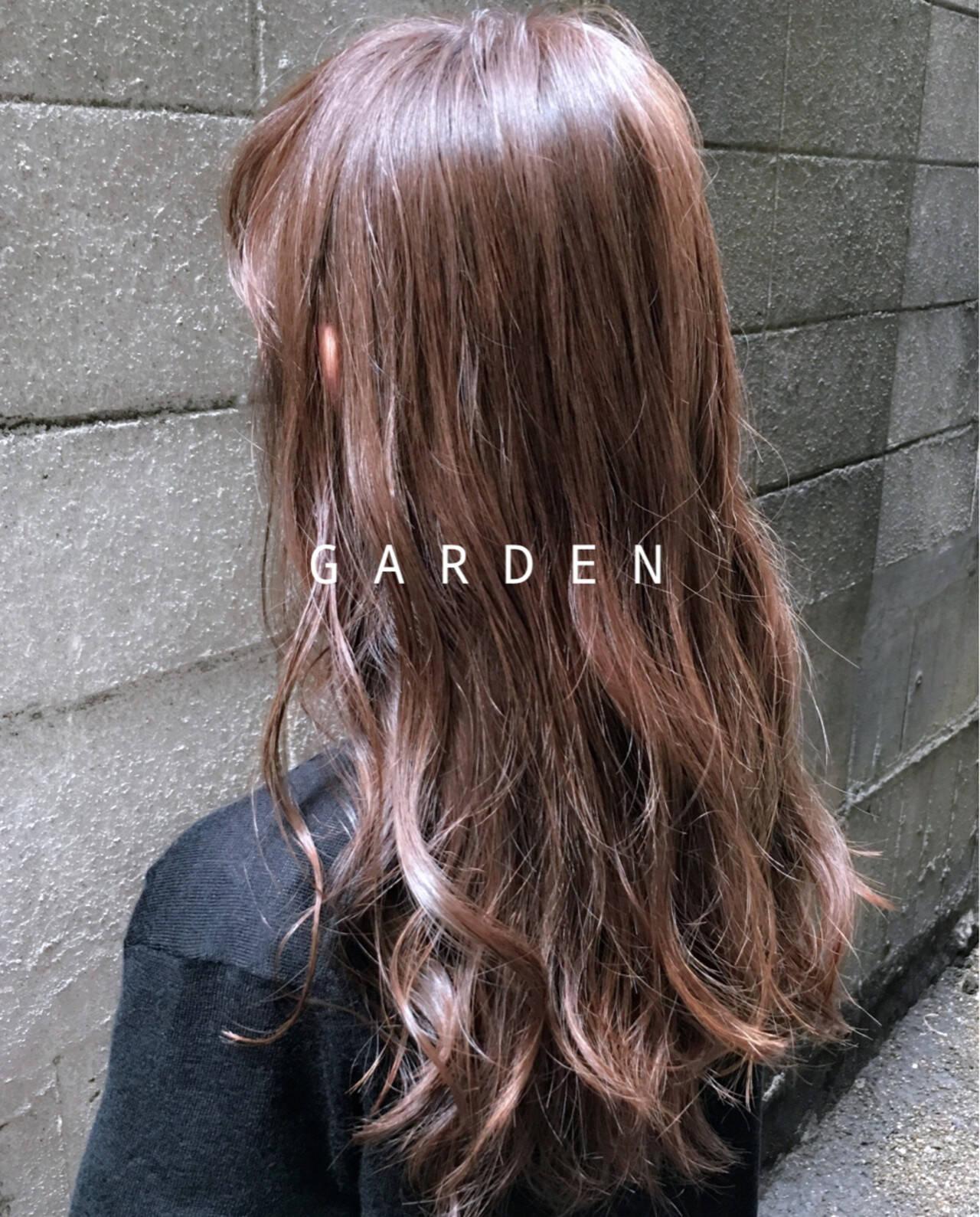 ロング グレージュ ピンク ピンクアッシュヘアスタイルや髪型の写真・画像