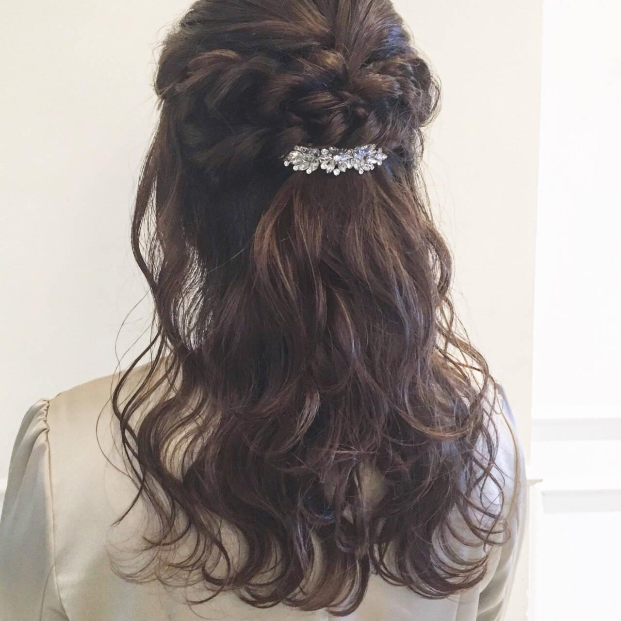 パーティ 結婚式 フェミニン ヘアアレンジヘアスタイルや髪型の写真・画像