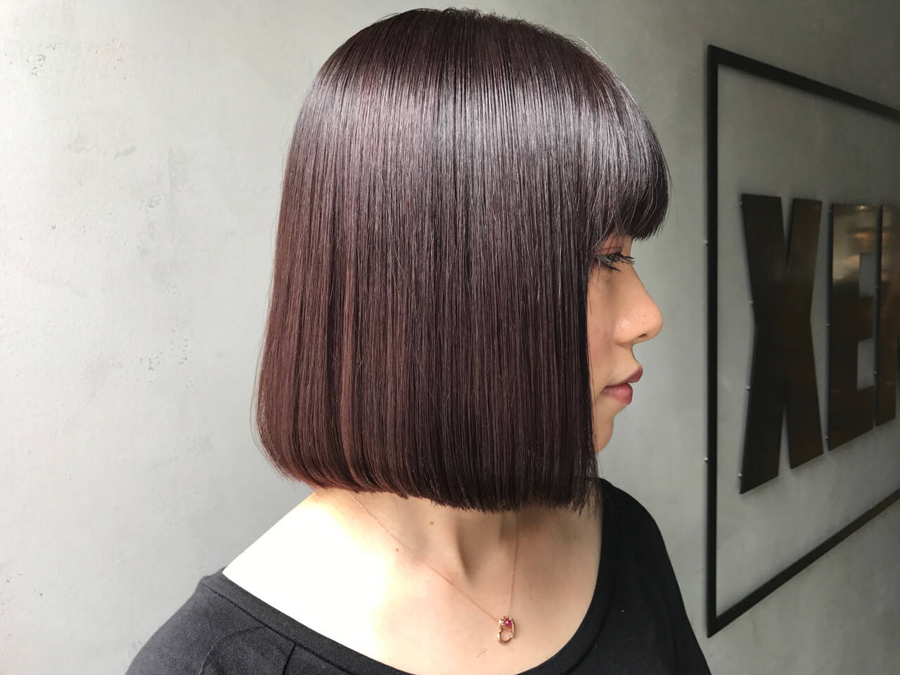 ワンレングス 切りっぱなし 暗髪 ボブヘアスタイルや髪型の写真・画像