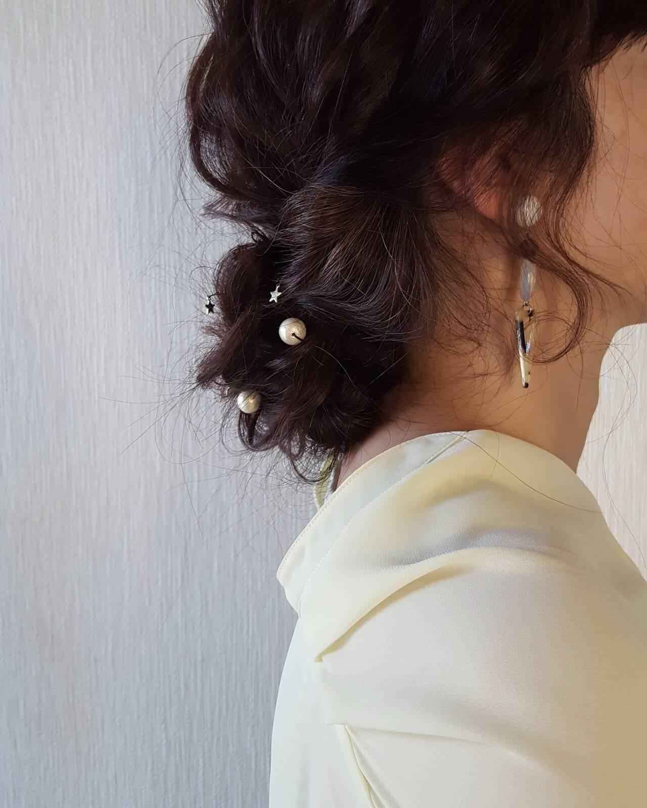 ヘアアレンジ フェミニン セミロング 夏ヘアスタイルや髪型の写真・画像
