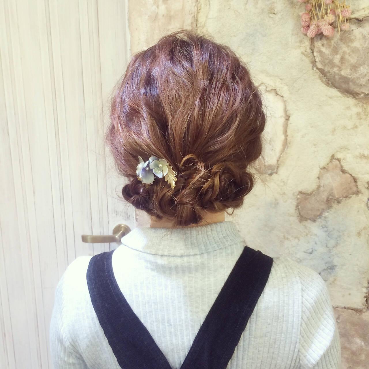 ロング セルフヘアアレンジ 波ウェーブ ヘアアレンジヘアスタイルや髪型の写真・画像