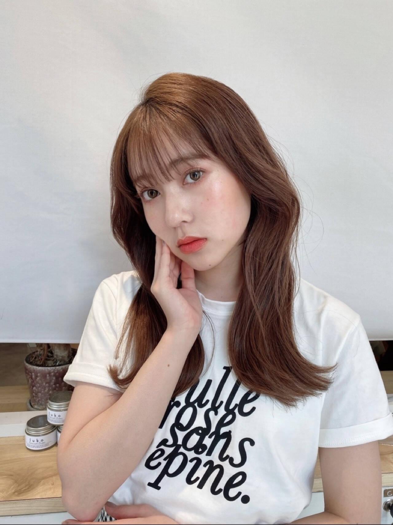 韓国ヘア セミロング 透明感 韓国ヘアスタイルや髪型の写真・画像