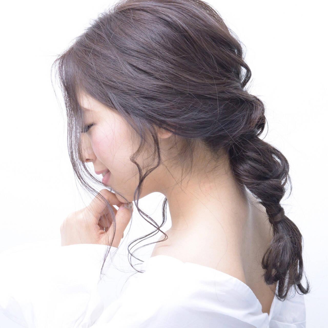 ナチュラル 編みおろし ナチュラル可愛い セミロングヘアスタイルや髪型の写真・画像