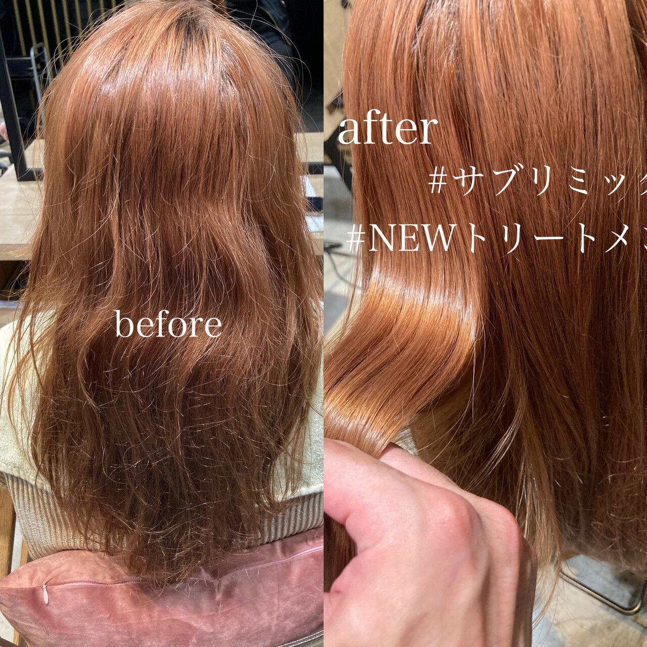 アッシュグレージュ ストレート ダブルカラー セミロングヘアスタイルや髪型の写真・画像