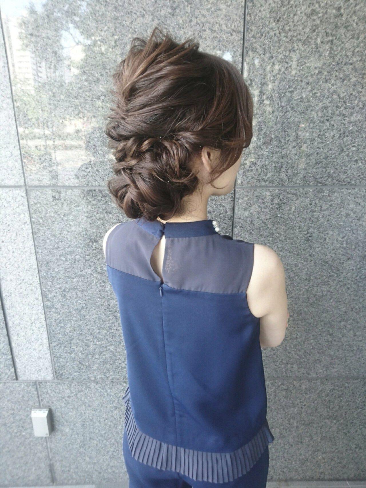 ナチュラル ヘアアレンジ セミロング ハーフアップヘアスタイルや髪型の写真・画像