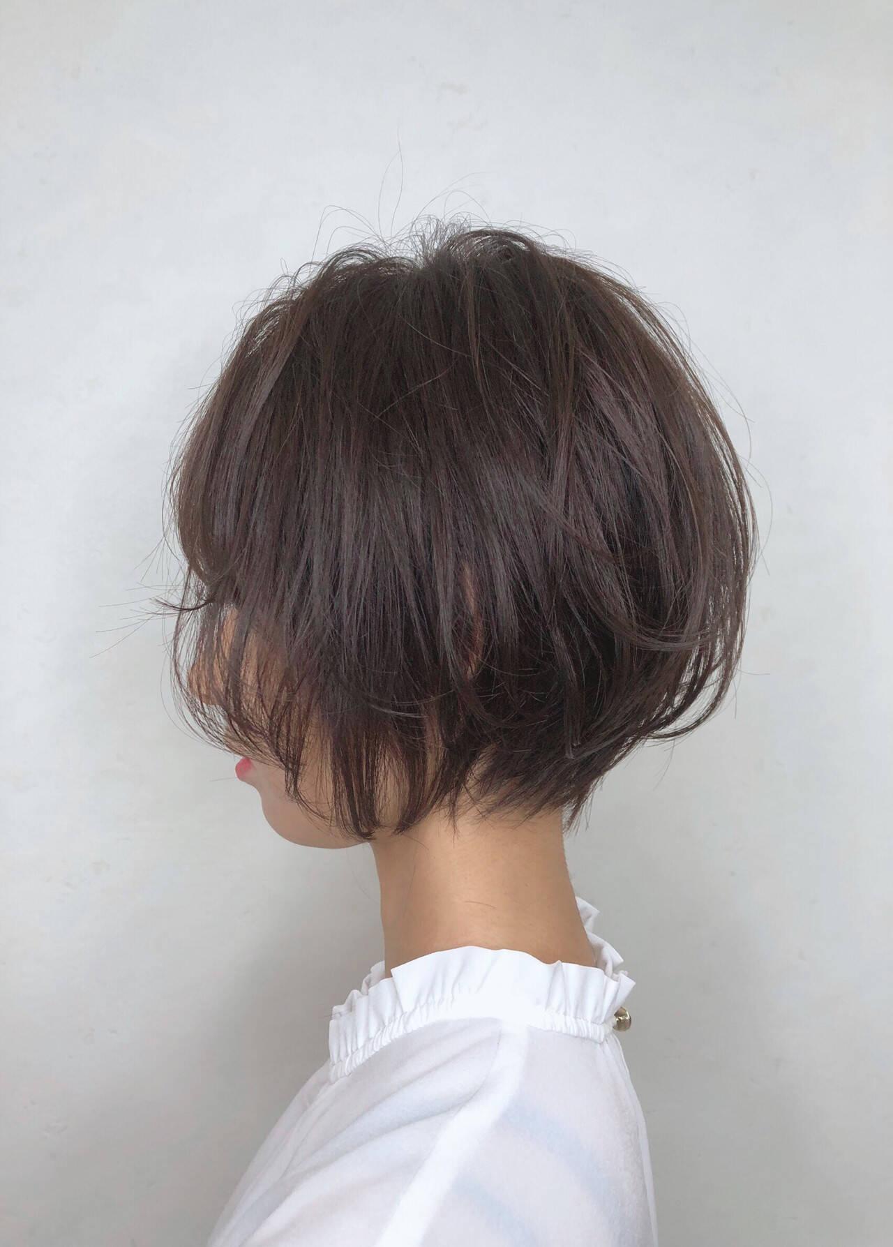 ハンサムショート ショートボブ ナチュラル デートヘアスタイルや髪型の写真・画像