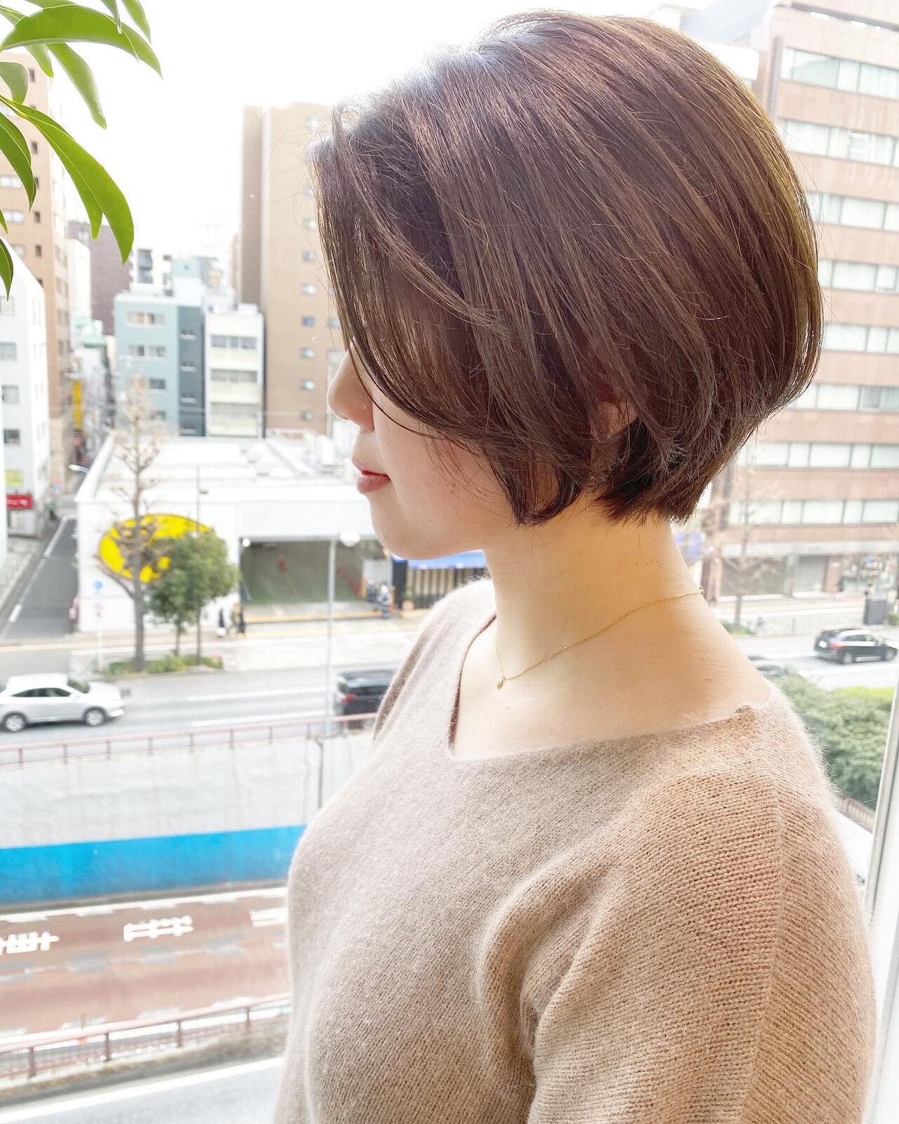 ショート ナチュラル デート ショートボブヘアスタイルや髪型の写真・画像