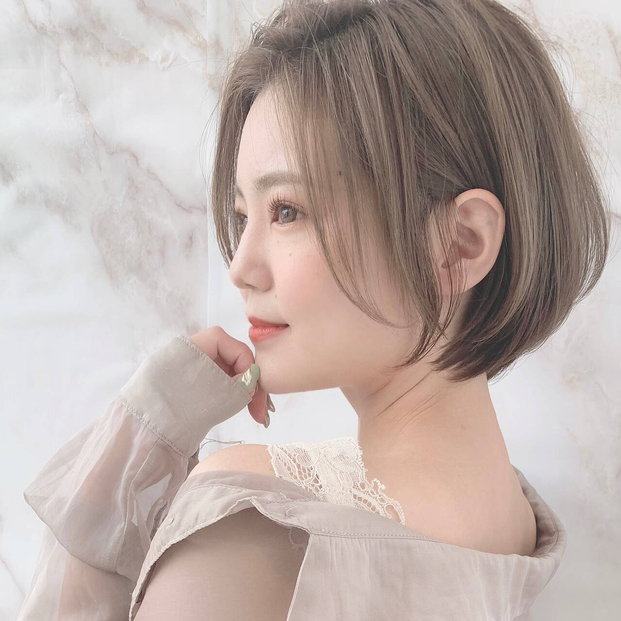 横顔美人 モテボブ ショート ナチュラル可愛いヘアスタイルや髪型の写真・画像