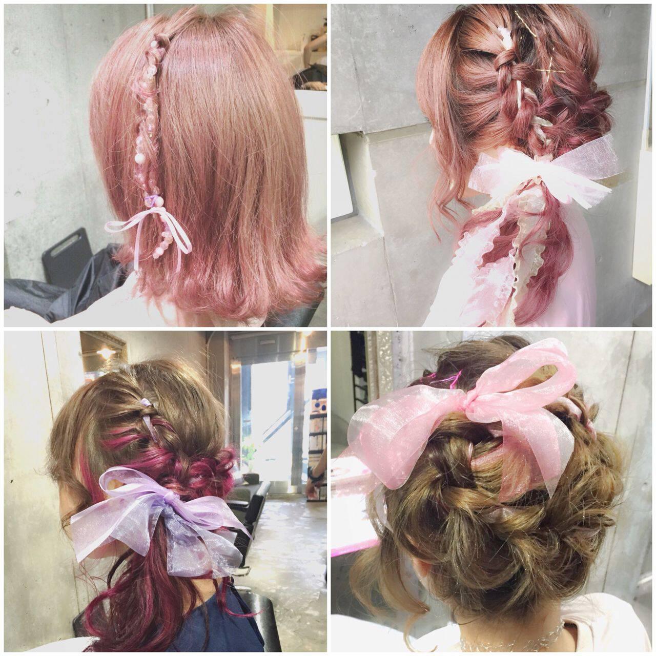 ゆるふわ ミディアム ヘアアレンジ シースルーバングヘアスタイルや髪型の写真・画像