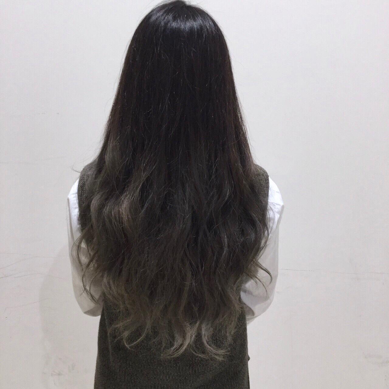 ロング 黒髪 渋谷系 外国人風ヘアスタイルや髪型の写真・画像