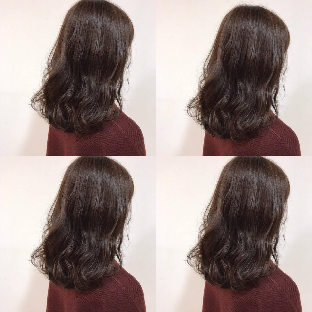 ニュアンス アッシュ ベージュ ブラウンヘアスタイルや髪型の写真・画像