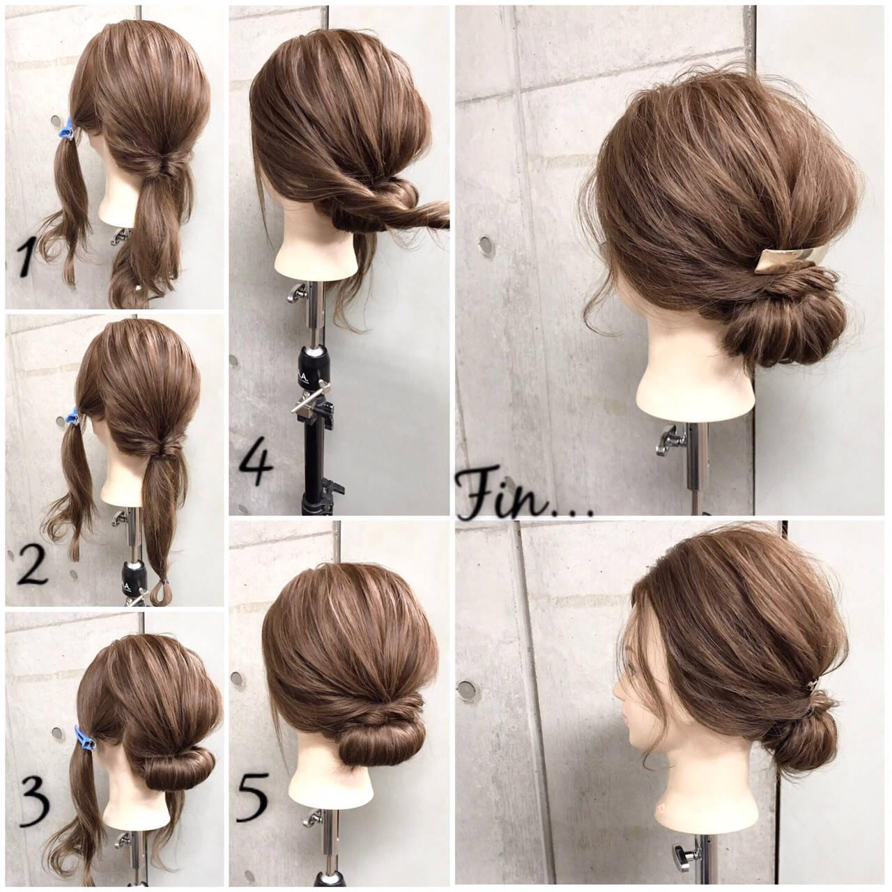 ナチュラル ヘアアレンジ セミロング 簡単ヘアアレンジヘアスタイルや髪型の写真・画像