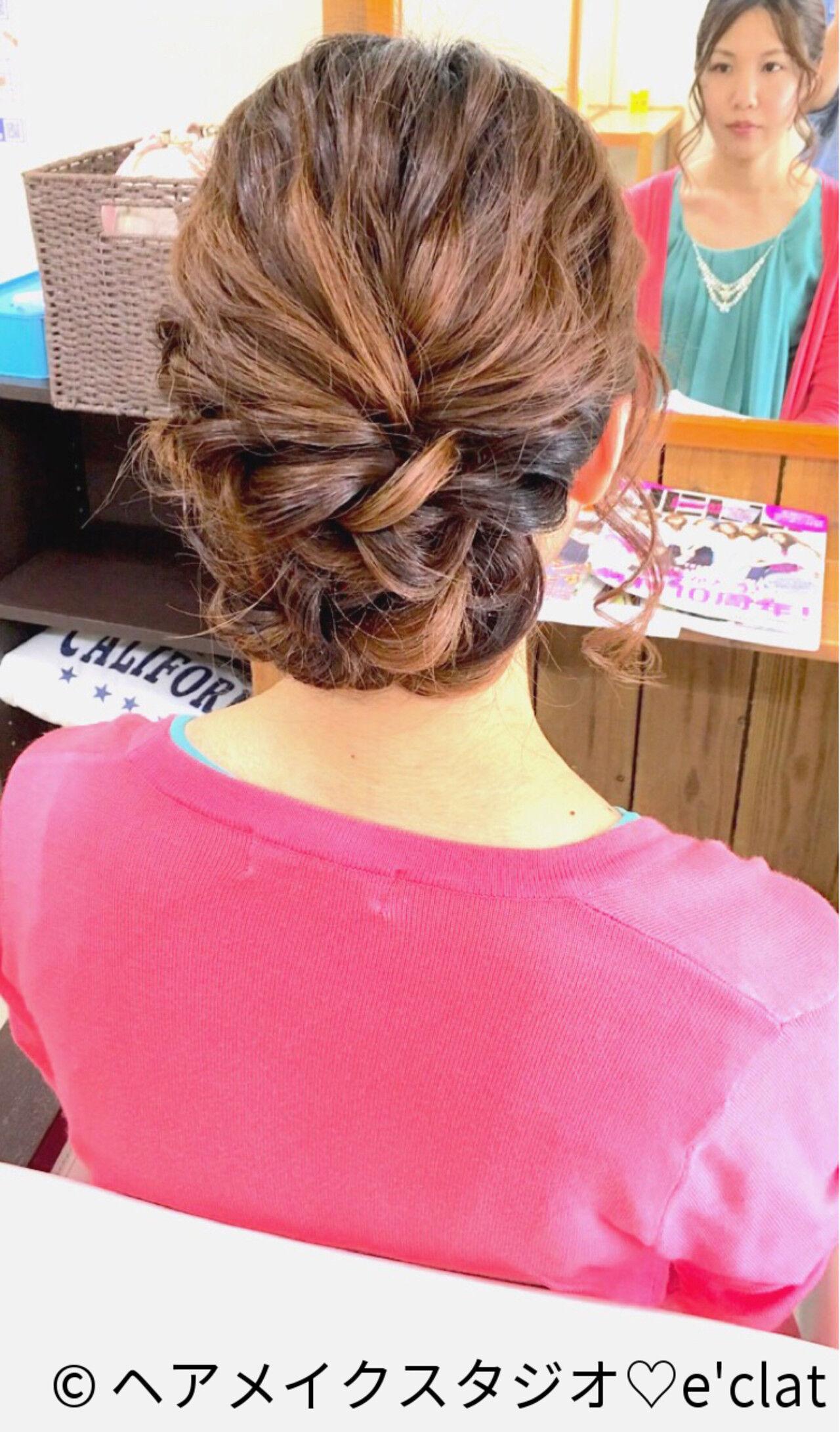 ヘアアレンジ セミロング 結婚式ヘアスタイルや髪型の写真・画像