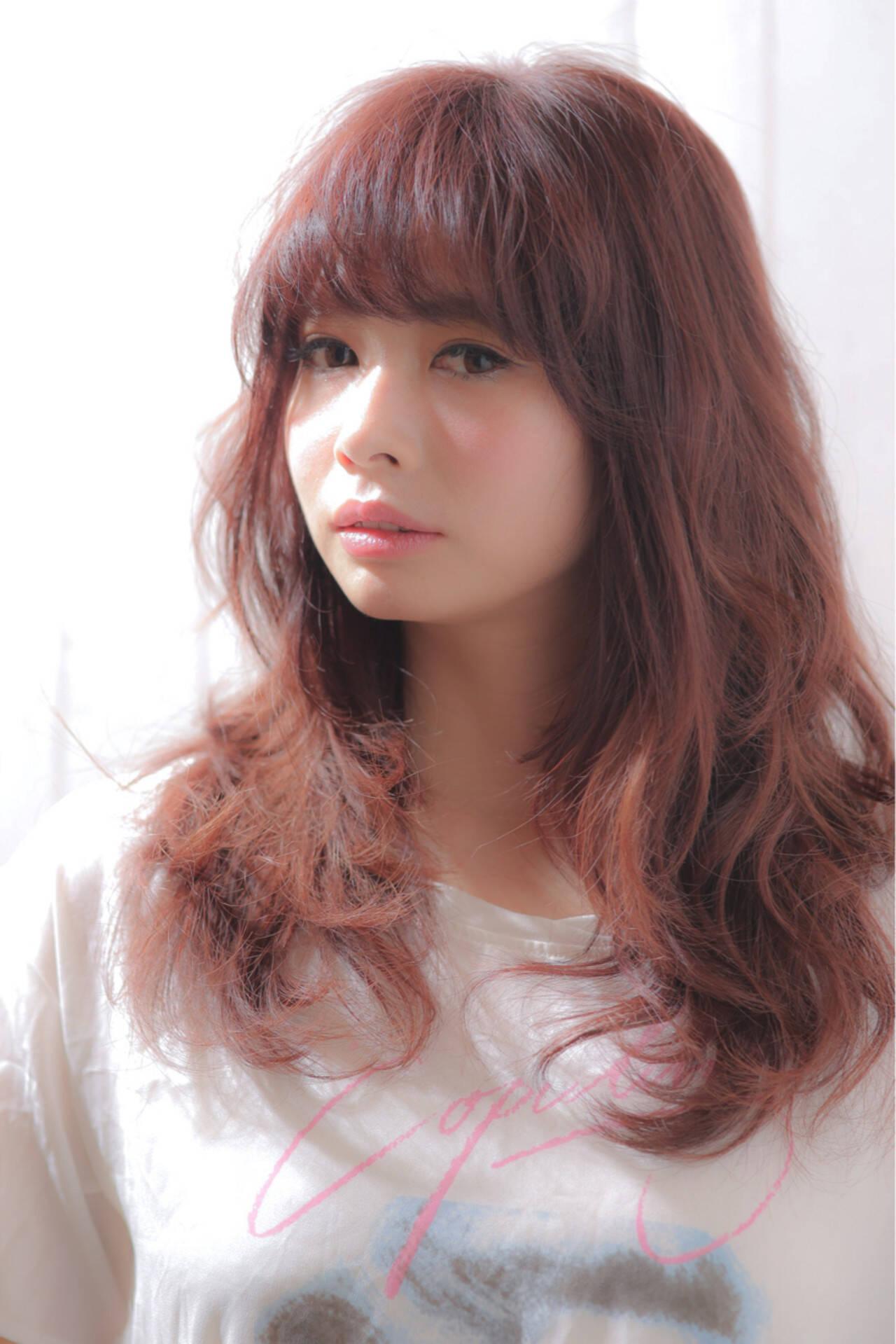 簡単 小顔 レイヤーカット ロングヘアスタイルや髪型の写真・画像