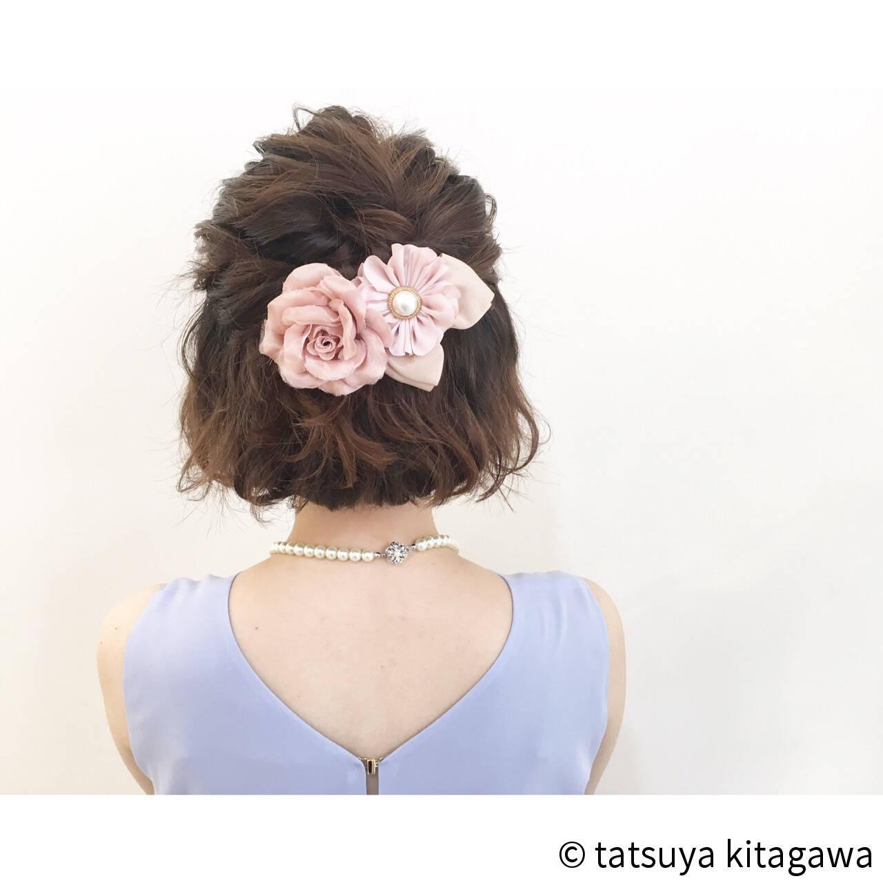 ハーフアップ 外国人風 ボブ ゆるふわヘアスタイルや髪型の写真・画像