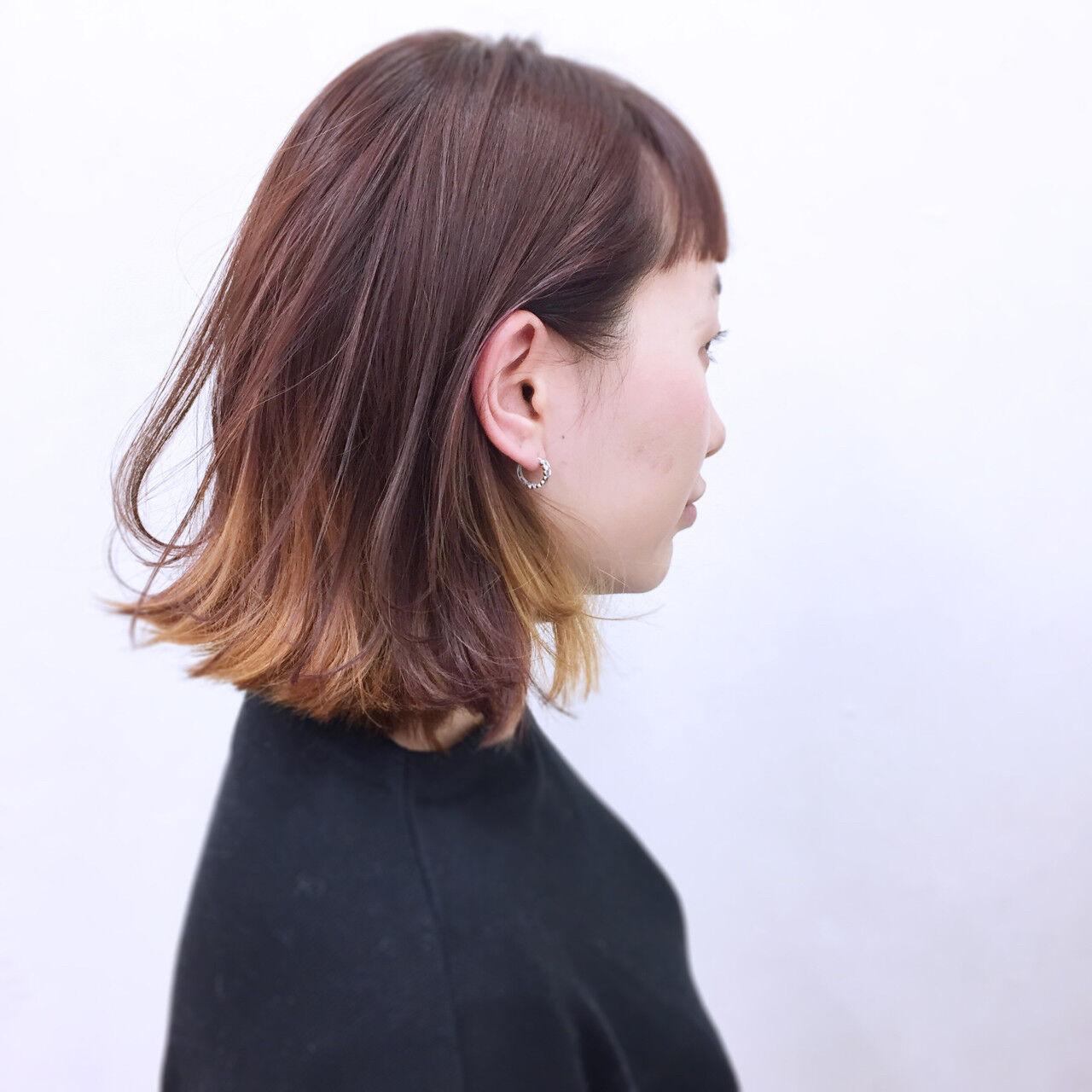 前髪あり ボブ イエロー インナーカラーヘアスタイルや髪型の写真・画像