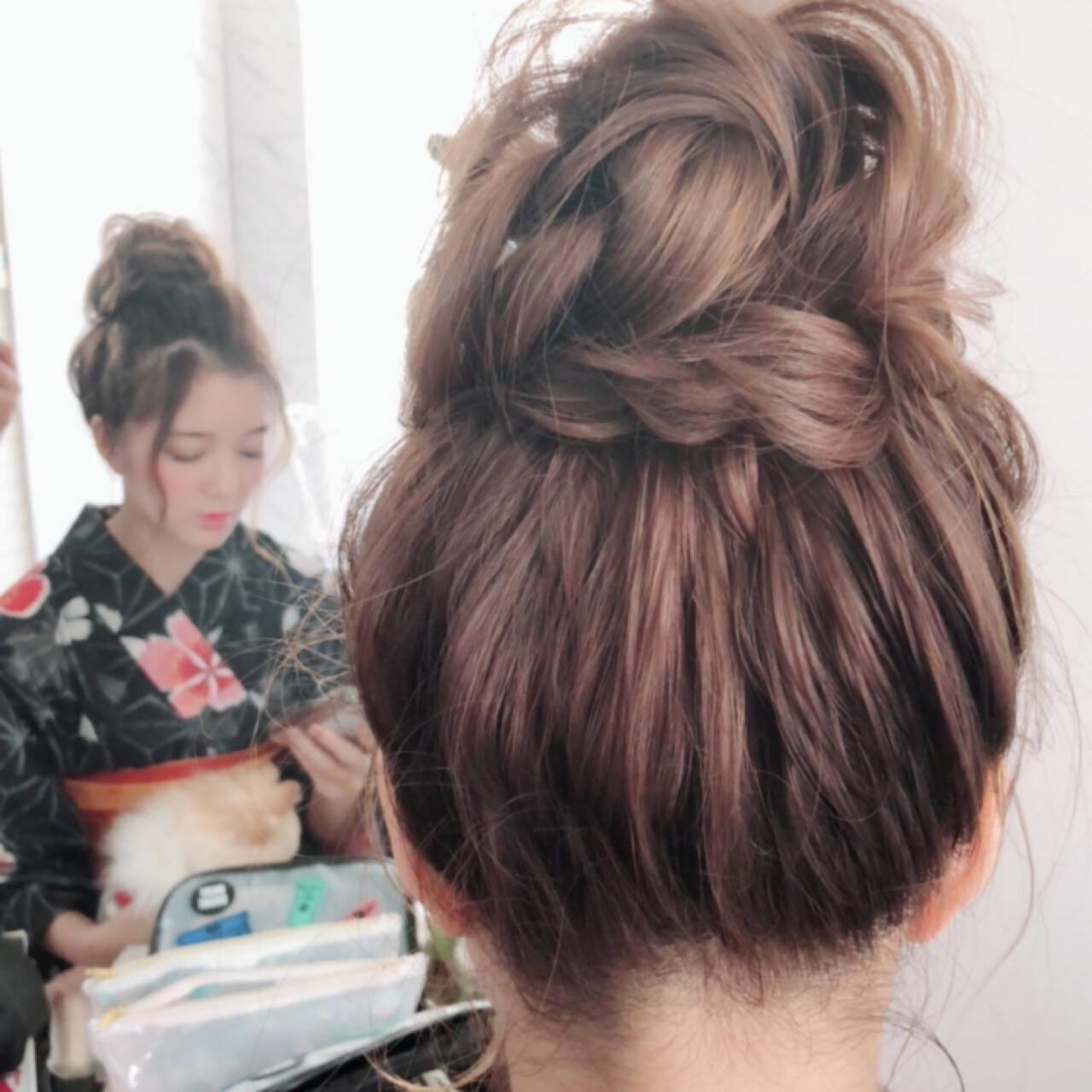 夏 和装 ヘアアレンジ お団子ヘアスタイルや髪型の写真・画像