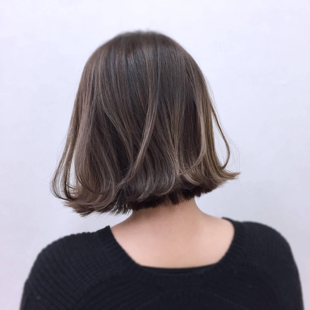 外ハネ ボブ ウェットヘア ガーリーヘアスタイルや髪型の写真・画像