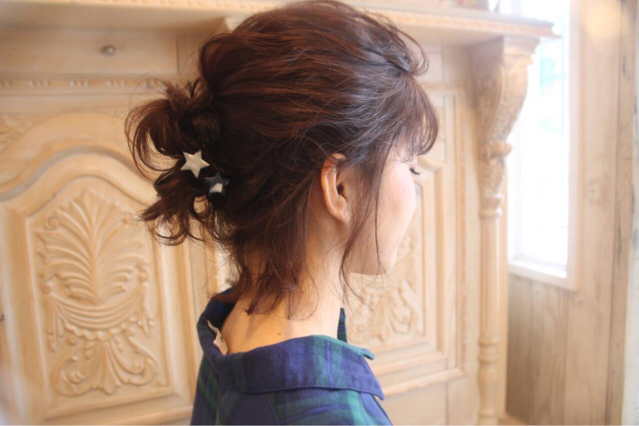 冬 お団子 ナチュラル 簡単ヘアアレンジヘアスタイルや髪型の写真・画像