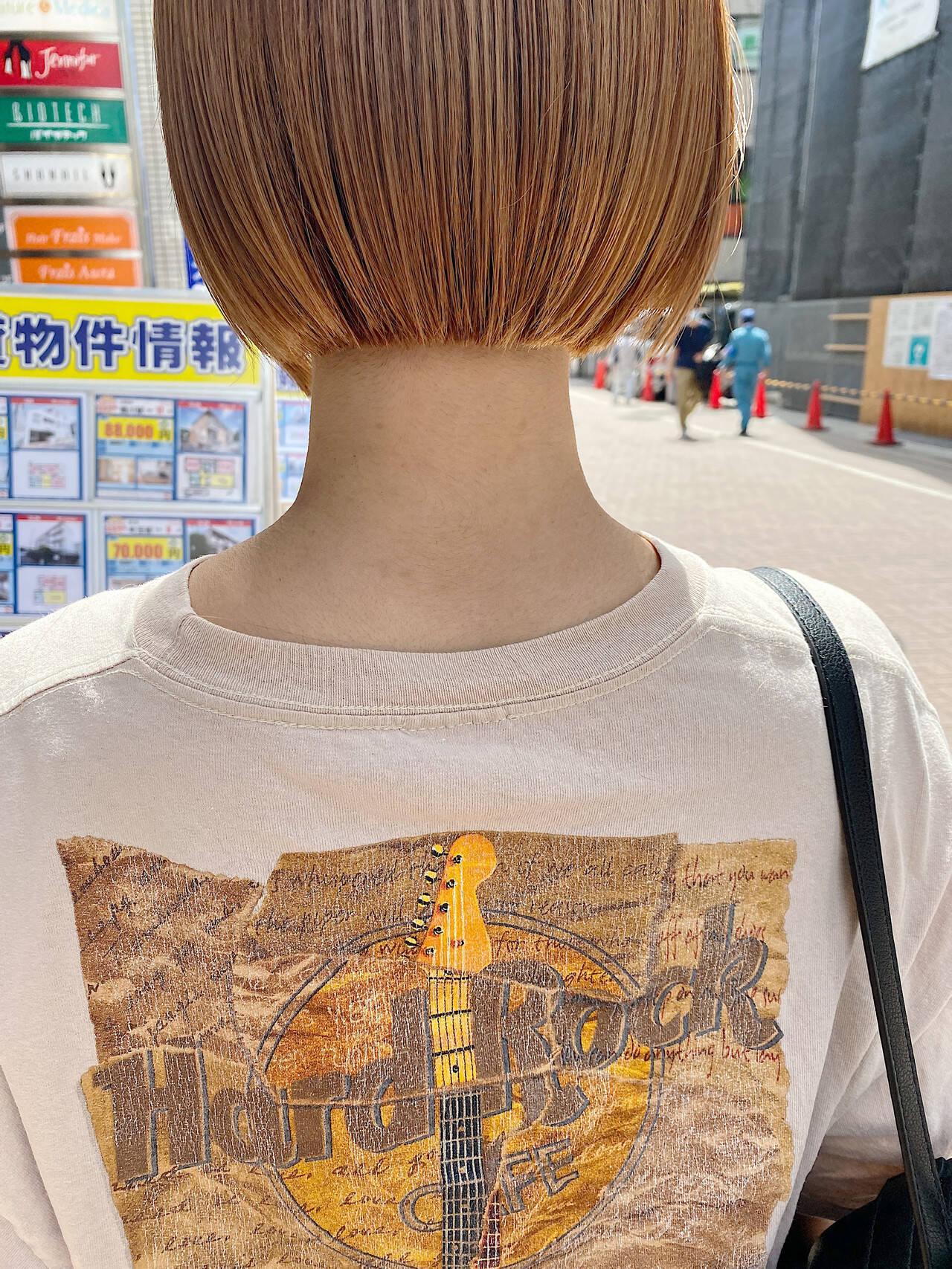ナチュラル ボブ オレンジ オレンジカラーヘアスタイルや髪型の写真・画像