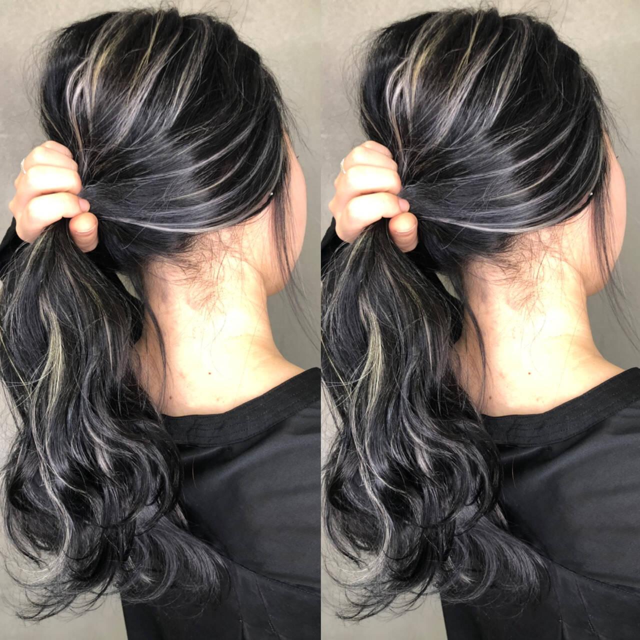 外国人風カラー ナチュラル アンニュイほつれヘア ハイライトヘアスタイルや髪型の写真・画像