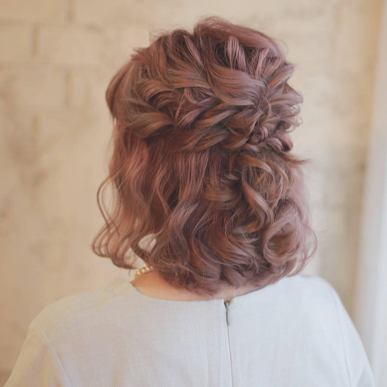外国人風 ヘアアレンジ ハーフアップ ボブヘアスタイルや髪型の写真・画像