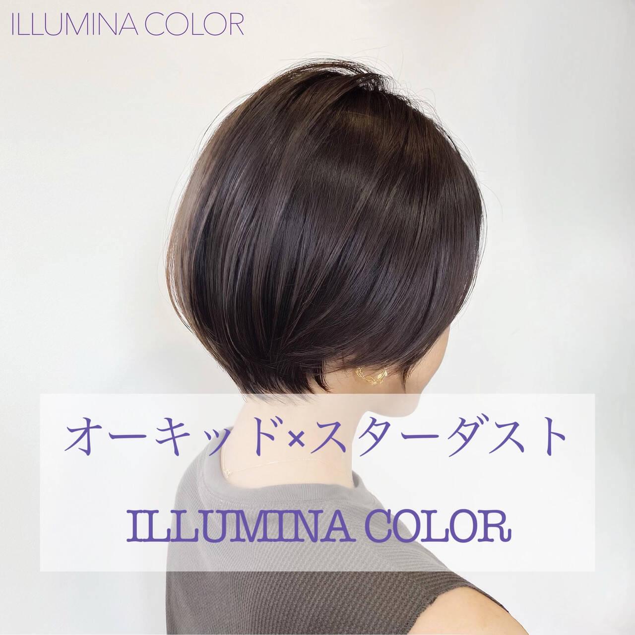 ショートヘア ナチュラル イルミナカラー 大人ショートヘアスタイルや髪型の写真・画像