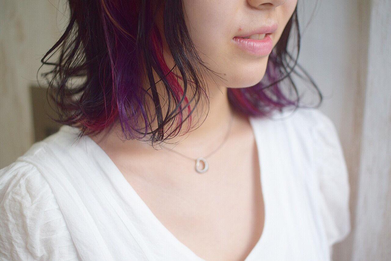 ピンク ピンクバイオレット インナーカラーパープル ボブヘアスタイルや髪型の写真・画像