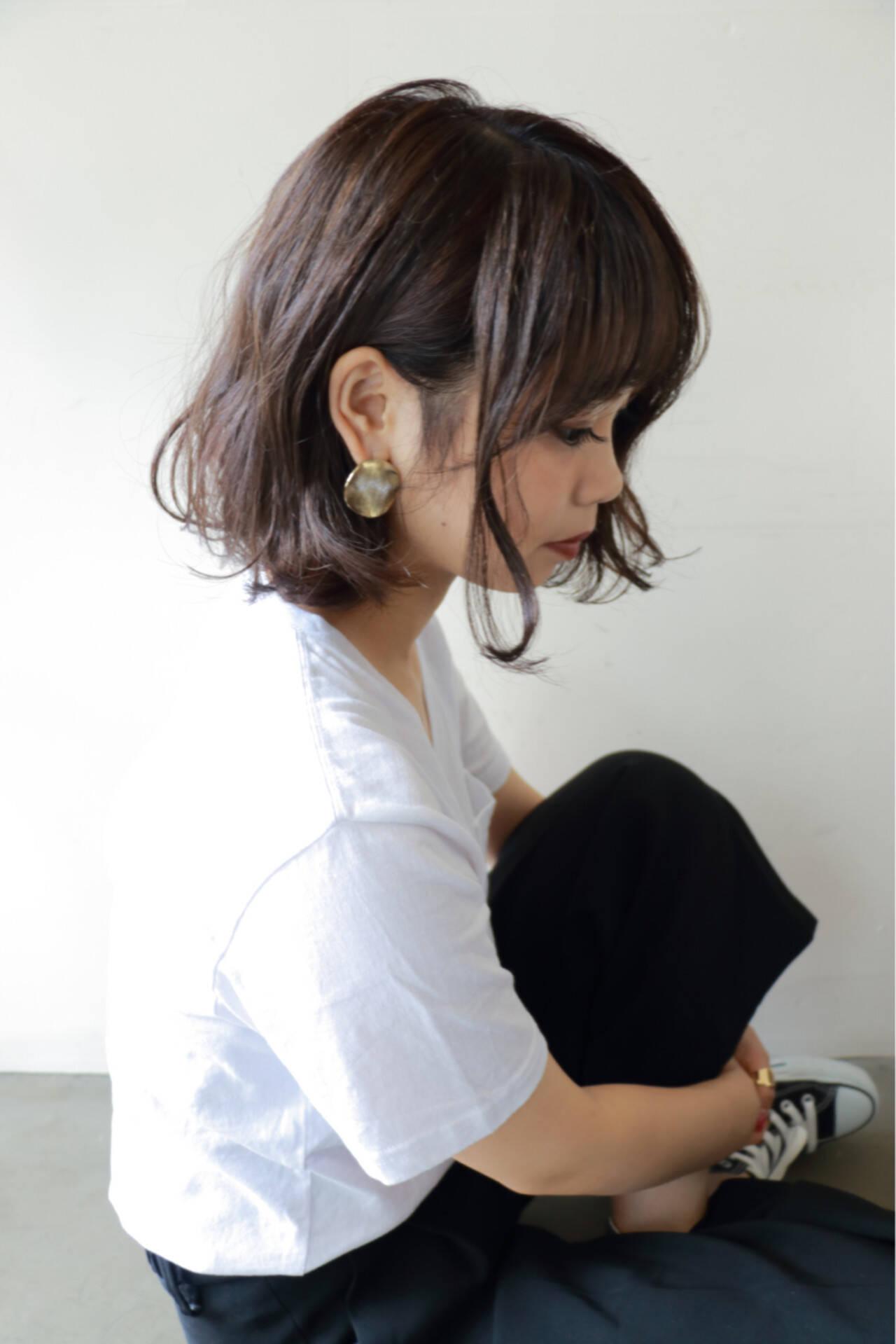 アッシュ ミディアム 大人かわいい ボブヘアスタイルや髪型の写真・画像