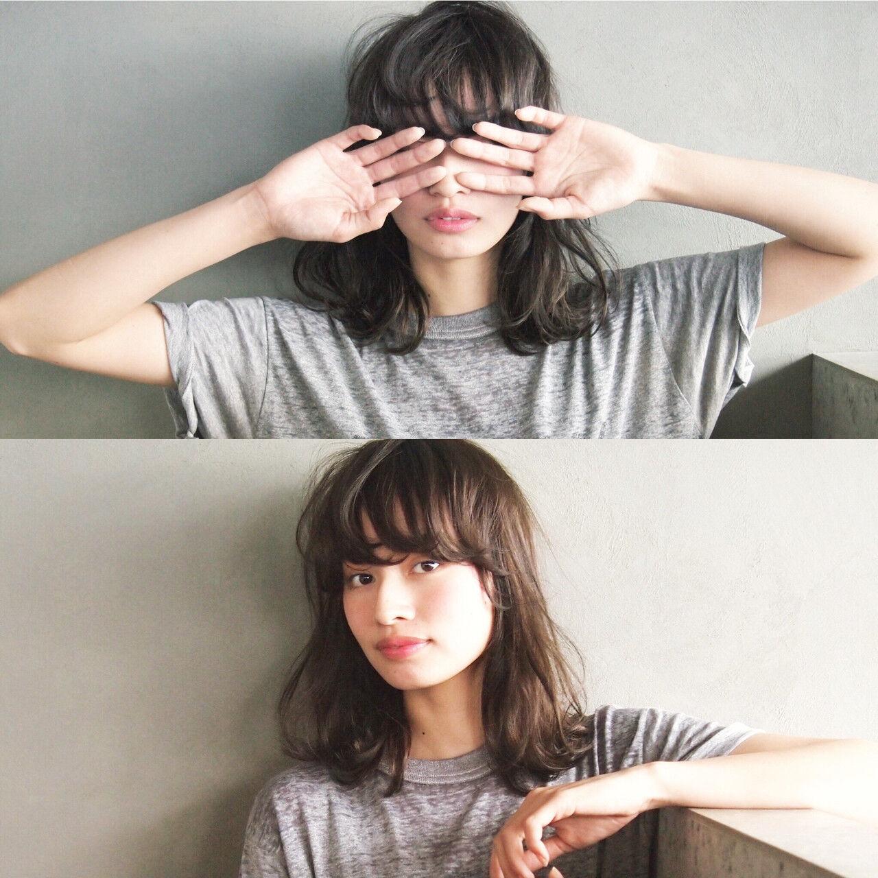 黒髪 暗髪 ミディアム 簡単ヘアスタイルや髪型の写真・画像