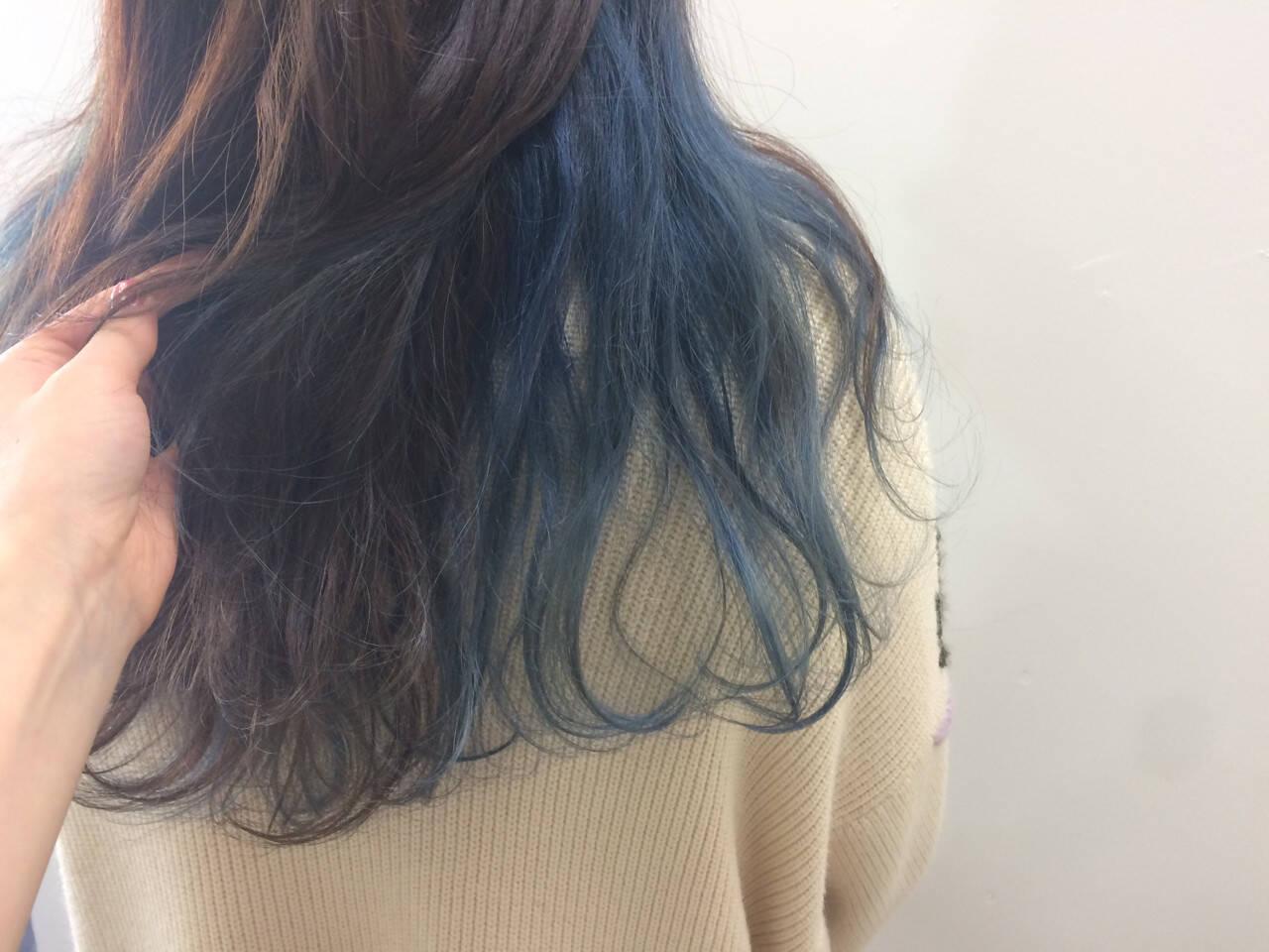 ロング ストリート ダブルカラー インナーカラーヘアスタイルや髪型の写真・画像