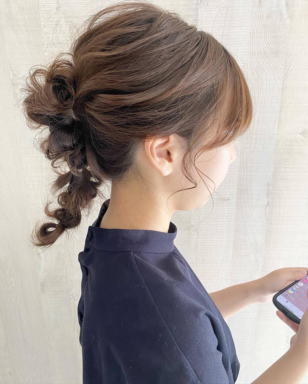 セミロング ナチュラル 結婚式アレンジ 編みおろしヘアヘアスタイルや髪型の写真・画像