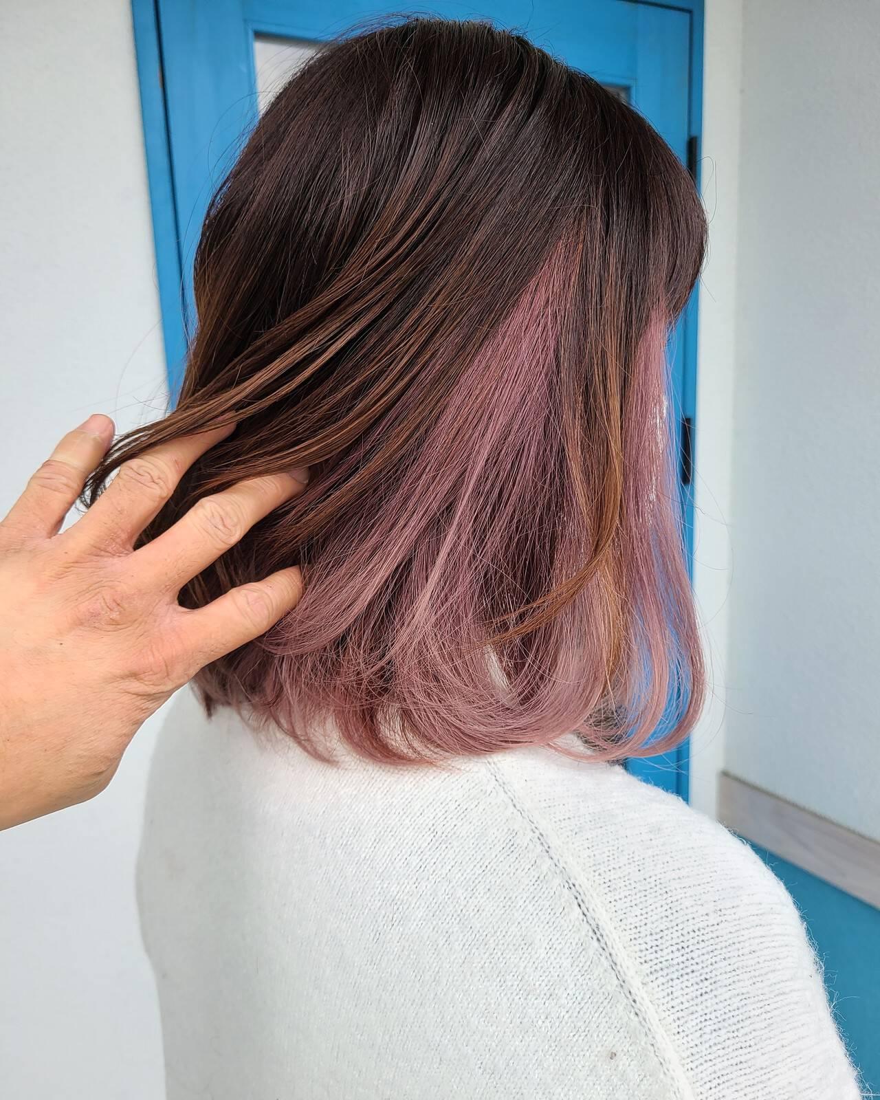 抜け感 透明感カラー 圧倒的透明感 セミロングヘアスタイルや髪型の写真・画像