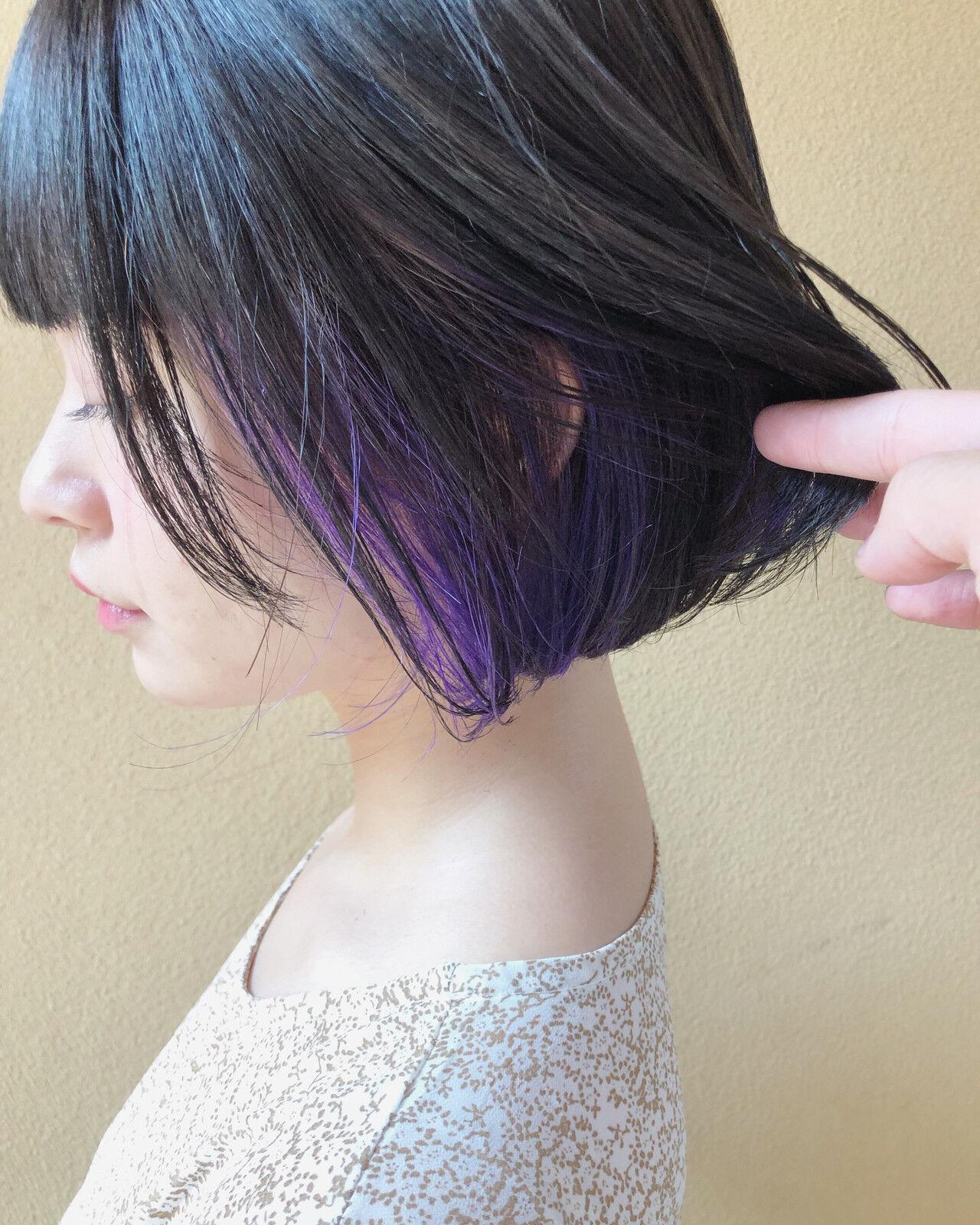 ピンクバイオレット 切りっぱなしボブ バイオレット ボブヘアスタイルや髪型の写真・画像