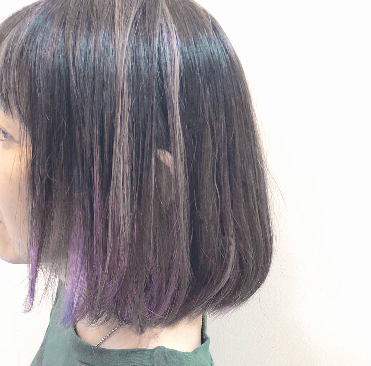 ボブ 秋 バレイヤージュ ハイライトヘアスタイルや髪型の写真・画像
