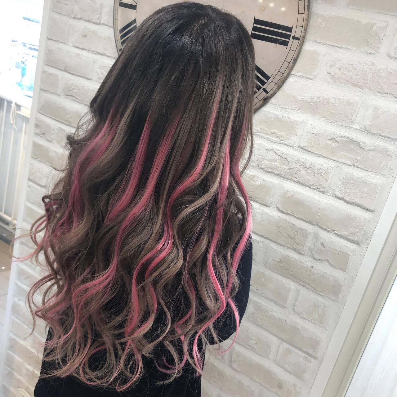 ハイライト 超音波 エクステ ピンクヘアスタイルや髪型の写真・画像