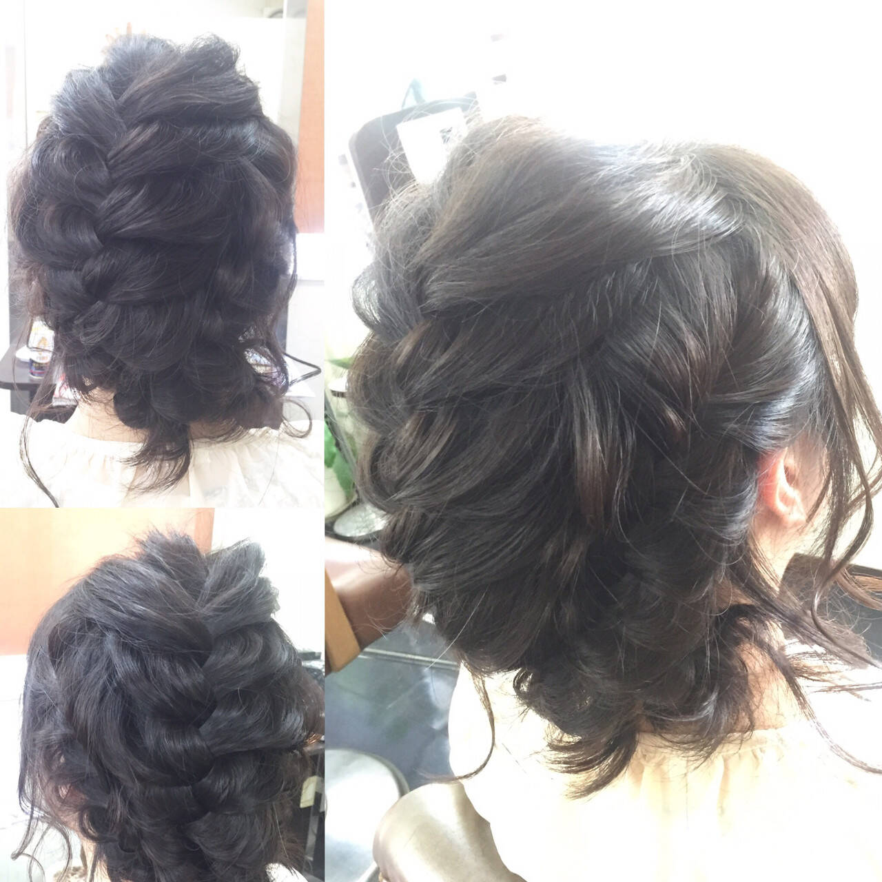 ミディアム ボブ 編み込み ヘアアレンジヘアスタイルや髪型の写真・画像