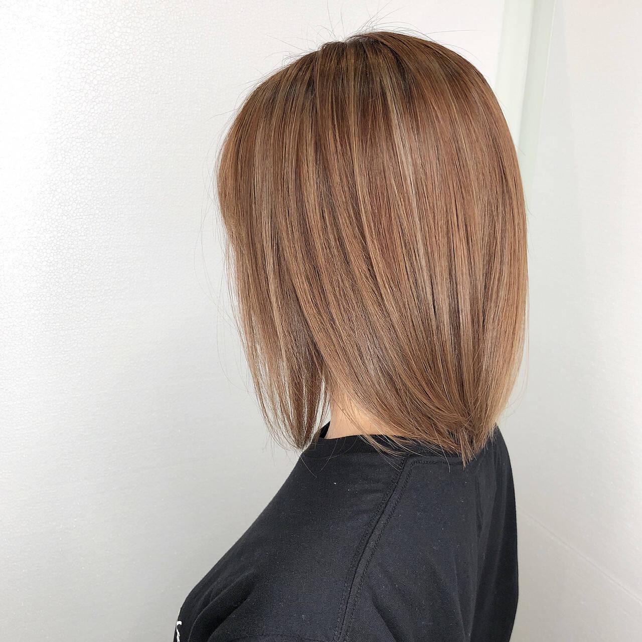 ストレート 髪質改善トリートメント ナチュラル ボブヘアスタイルや髪型の写真・画像