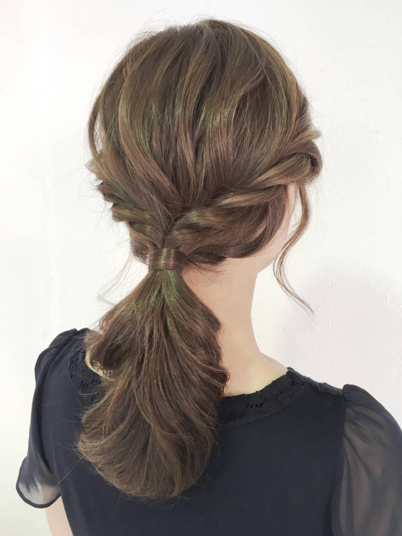ナチュラル 簡単ヘアアレンジ ヘアアレンジ ルーズヘアスタイルや髪型の写真・画像