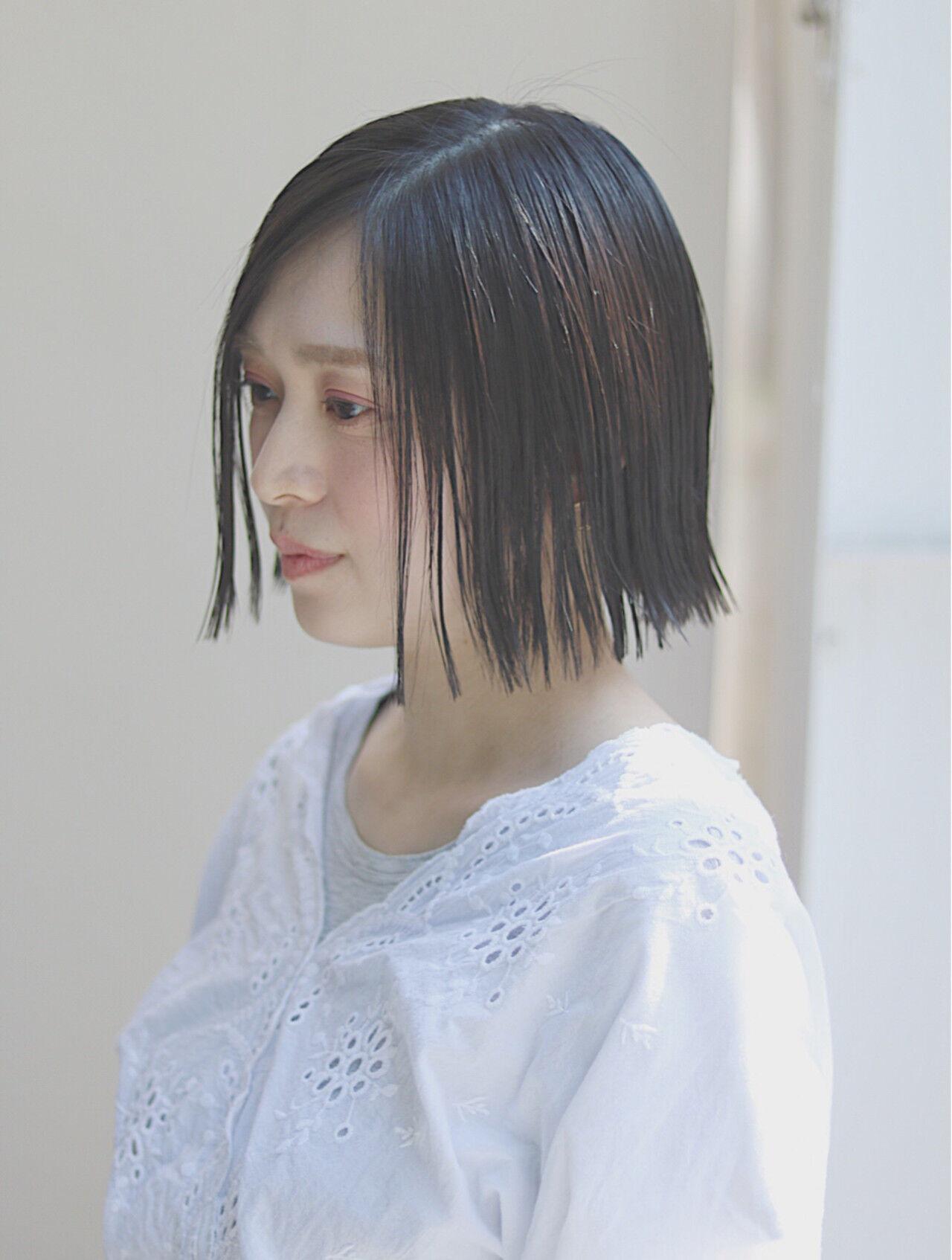 イルミナカラー ボブ デート ショートヘアスタイルや髪型の写真・画像