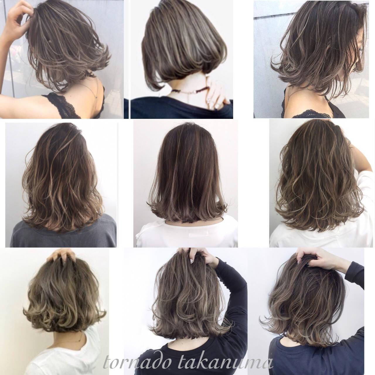 グレージュ ナチュラル ボブ ハイライトヘアスタイルや髪型の写真・画像